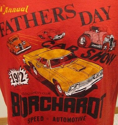 Vtg Father's Day Car Show T Shirt Borchardt Chevy Speed Automotive S/M Red Soft