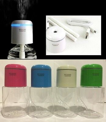 Portable Mini Water Bottle Caps Humidifier Air Diffuser Aroma Mist w Bottle LED
