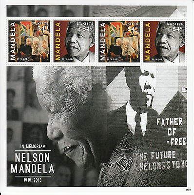 St Kitts 2013 MNH Nelson Mandela I 4v M/S In Memoriam Death Father Freedom