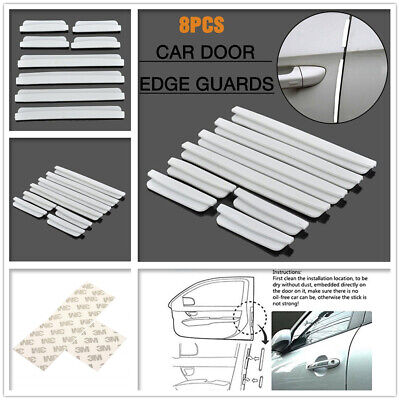 8 Pcs Car Side Door Edge Defender Protector Trim Guard Protection Strip White