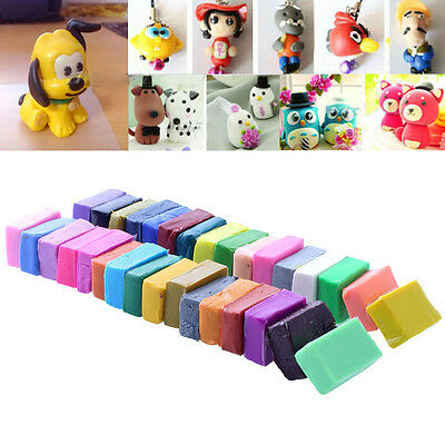 32 Colour Polymer Clay Moulding Oven Bake + 5 Tools Blocks Modellings