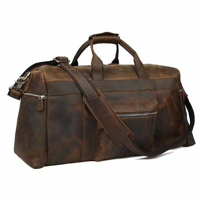Genuine Leather Luggage Duffle Gym Bag Men Women Tote Overnight Weekend Holdall