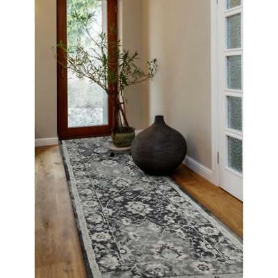 ASH GREY THICK SOFT HALL RUNNER Hallway Carpet Rug NEW 80x400cm JWL-804-NAVY