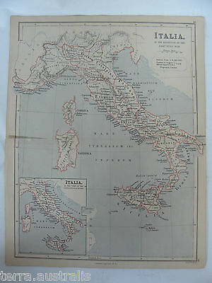 ANCIENT ITALIA DURING THE PUNIC WAR - Italy - 1885 ANTIQUE MAP Weller Longmans