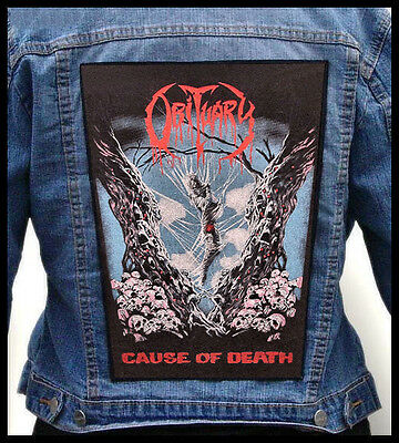 OBITUARY - Cause Of Death  --- Giant Backpatch Back Patch
