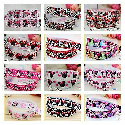Foe 5/8 Fold Over Elastic By 1, 2 & 5 Metre Lots - Minnie & Mickey Mouse