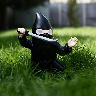 Ninja Garden Gnome with Glowing Eyes Weather Resistant Novelty Garden Ornament