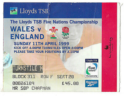 1999 - Wales v England, Five Nations Match Ticket.