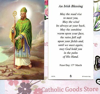 St Patrick with An Irish Blessing - Paperstock Holy Card