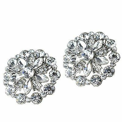 """Glitzy Jewelled Shoe Clips, Shoe Embellishments, Brooches (1 Pair) """"Gemma"""""""