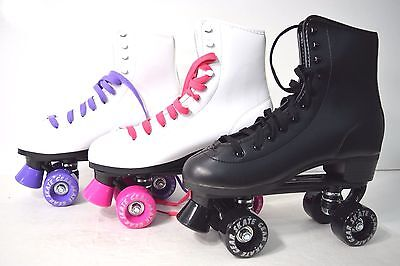 Top Brand Roller Skate Kids Youth Size #4  Black White Purple Pink