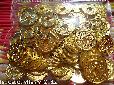 100 PCS Small Gold Plated Metal Chinese Fortune Coins 10mm Premium (M018-01G)