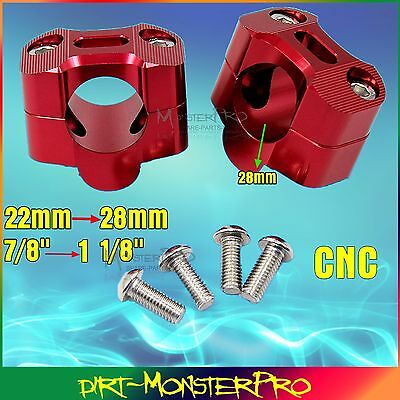 "1 1/8"" 28mm CNC Handlebar Bar Mount Clamp Riser Adaptor ATV Quad Dirt Pit Bike"