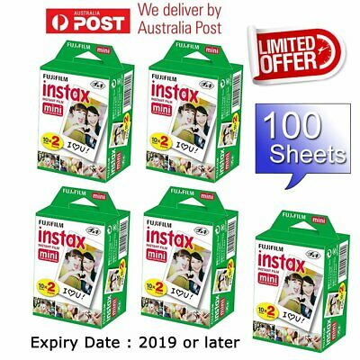 100 Sheet Fujifilm Instax Mini White Film Fuji instant photos 7s 8 Plus 90 25 AU