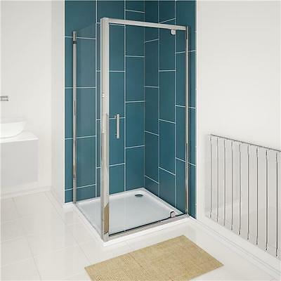 6mm Glass Hinged Pivot Shower Enclosure Door Cubicle Tray Side Panel 1850mm High