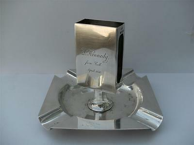 Solid Silver Ashtray & Match Box Holder Birmingham 1928