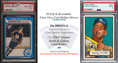 50 Superior Fit Clear Sleeves for PSA Graded Sports Card Slabs 4 Mil 2x Thicker