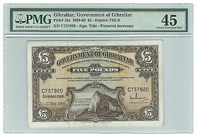 Gibraltar Banknote 5 Pounds 1965 P-19a Choice XF PMG 45 Rare Paper Money Old