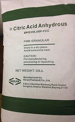 Citric Acid anhydrous 1.0 lb in pouch, Pure, Natural, food grade