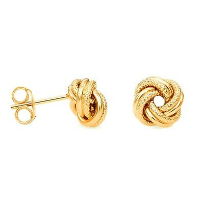 7440350cf 925 Sterling Silver Love Knot Stud Earrings 14k Yellow Gold Plated Made in  Italy