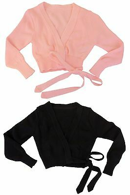 New Girls DanzNMotion Acrylic Wrap Sweater Dance Top in Black or Pink T/S, S/M