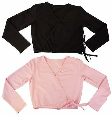 New Girls DanzNMotion Crop Wrap Cardigan Dance Top in Black or Pink S/M, M/L