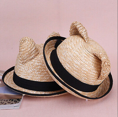 Lovely cat ears straw dome cool shade str straw dome cool shade straw hat