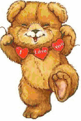 Cross Stitch Chart  Pattern Bear I Love You  Needlework Picture Design Craft