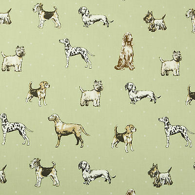 Vintage Shabby Chic Sage Green Dogs Oilcloth Wipeclean PVC Vinyl Tablecloth