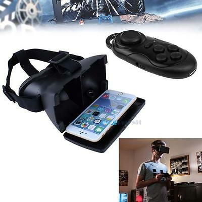 Virtual Reality 3D Glasses Google Cardboard + Bluetooth Controller Gamepad #B