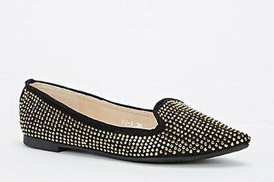 Shumaxx  Encrusted Pointed Toe Flats SHOES UK Size 7 EU 40 Khaki