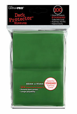 100ct Green Standard Deck Protector Card Sleeves Pokemon MTG Sports + Ultra Pro
