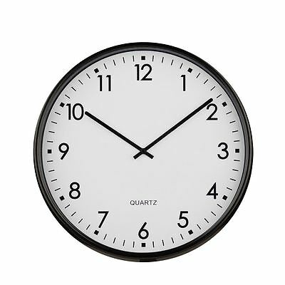 Quartz Wall Clock Black Metal & Hands with White Dial for Homes & Offices - NEW