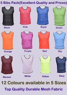 5 FOOTBALL MESH TRAINING SPORTS BIBS Kids/Youth and Adult Sizes