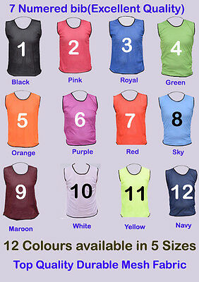 7 FOOTBALL MESH TRAINING SPORTS BIBS NUMBERED (1-7 OR number of your choice)
