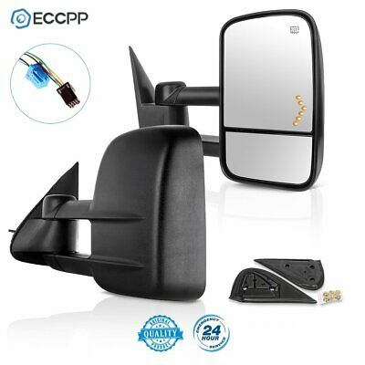 Towing For 03-07 Sierra Silverado Mirrors Side Power Heated LED Signals Pair Set