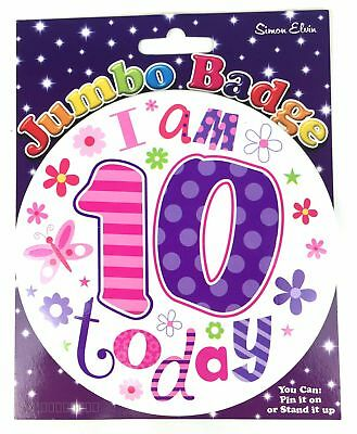 10 Today Birthday Age 10th Jumbo Large Girls Flower Pink Purple Party Accessory