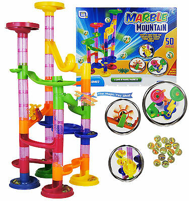 50 pcs Marble Run Race Set Building Blocks Construction Toy Game Glass Marbles