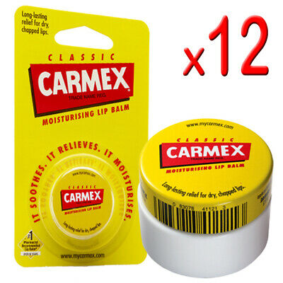 12 x Carmex - Original Classic Moisturising Lip Balm For Dry & Chapped Lips 7.5g