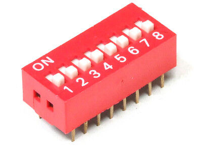 DIP Switch Slide Type 16-Pin 8-Positions Red / 8-fach Kodier-Schalter Rot 2.54mm