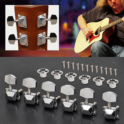 6R CHORME Electric Guitar String Tuning Pegs Acoustic Knob Tuners Semiclosed