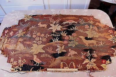 """French Antique 19thC Handloom Animal Tapestry Fabric~31""""LX57""""W~Upholstery,Bags"""