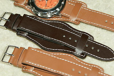 Military Soft Leather Cuff Black Tan  Watch Strap 18mm 20mm spring bars  tool