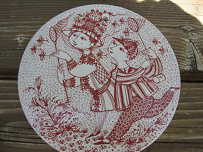 Nymolle Denmark Bjorn Wiinblad Red August Bye Bye Wall Plate Plaque Dragonfly