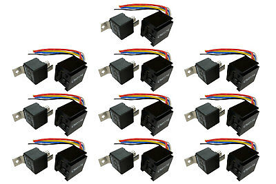10 LOT TEMCo 12 V 60/80 Amp Bosch Style S Relay with Harness Socket Automotive