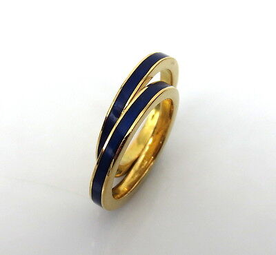 Pair of Vintage Cobalt Blue Enamel & 18k Yellow Gold Bands Size 5.5