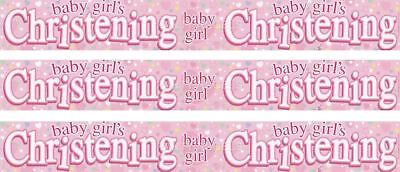 Baby Girls Christening Plastic Foil Banner pink christening decorations