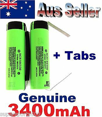 6 x SOLDER TABBED Panasonic NCR 18650 B 3400mAh Lithium Li-Ion NCR18650B battery