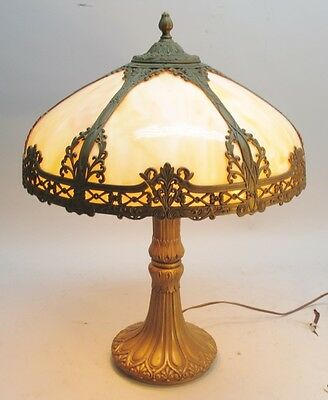 Superb Antique American Art Nouveau Slag Glass Lamp  c. 1910  panel leaded
