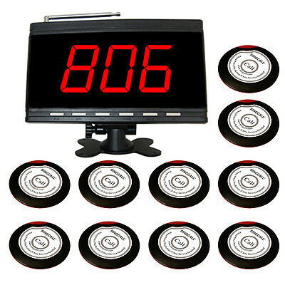 SINGCALL Wireless Pager Calling Systems 10 Bells,1 Receiver for Coffee Waiters